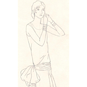 Authentic 1920s Original Drawing NOT PRINT Flapper Fashion Illustration, Contour Line in Pencil
