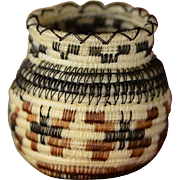 Intricate & Exceptional: Vintage Miniature Horsehair Basket by Tohono O'odham, Papago, Native American