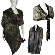 Vintage 1920s Assuit Shawl: Rare and Exceptional.  Linen & Gold Washed Metallics. Outstanding! In Wearable, Perfect Condition!