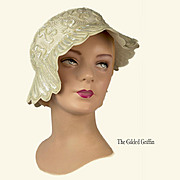 Wintry White Vintage 1950s Hat, Completely Hand-Stitched and Embroidered, Made From Fine Merino Felted Wool