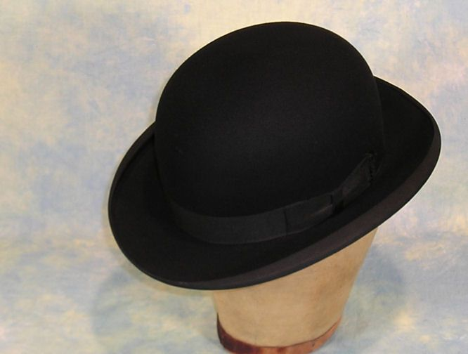 Pristine Vintage Edwardian Stetson Black Felt Bowler or Derby Hat