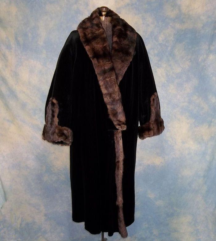 Opulent Edwardian Sable Trimmed Vintage Winter Coat