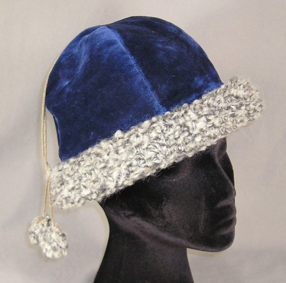 Edwardian Blue Velvet Skating Tam Vintage Hat