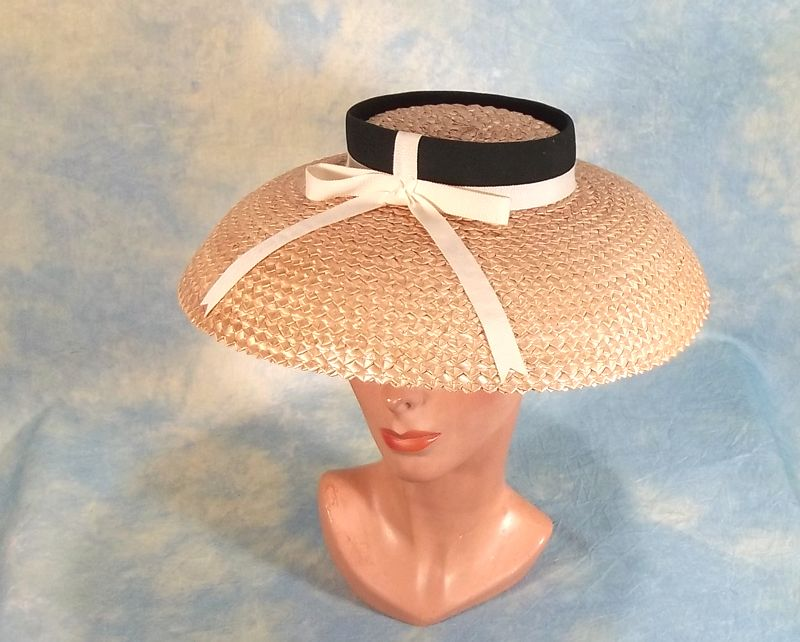 Fabulous 1950's Vintage Cartwheel Lampshade Style Hat
