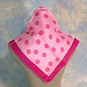 Button Motif Vintage Hot Pink Silk Scarf
