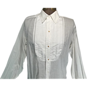 Vintage 1930s Mens White Cotton Tuxedo Shirt
