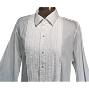 Vintage 1940s Mens White Cotton Tuxedo Shirt