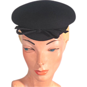 Fun 30s-40s Black Wool Felt Vintage Topper Hat