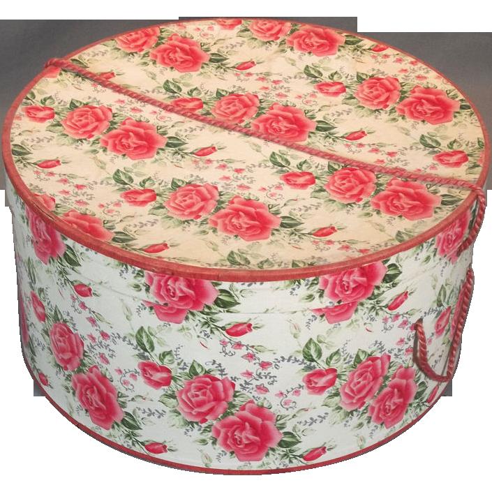 Pink Roses Mid-Century Modern Decorative Ladies Hat Box