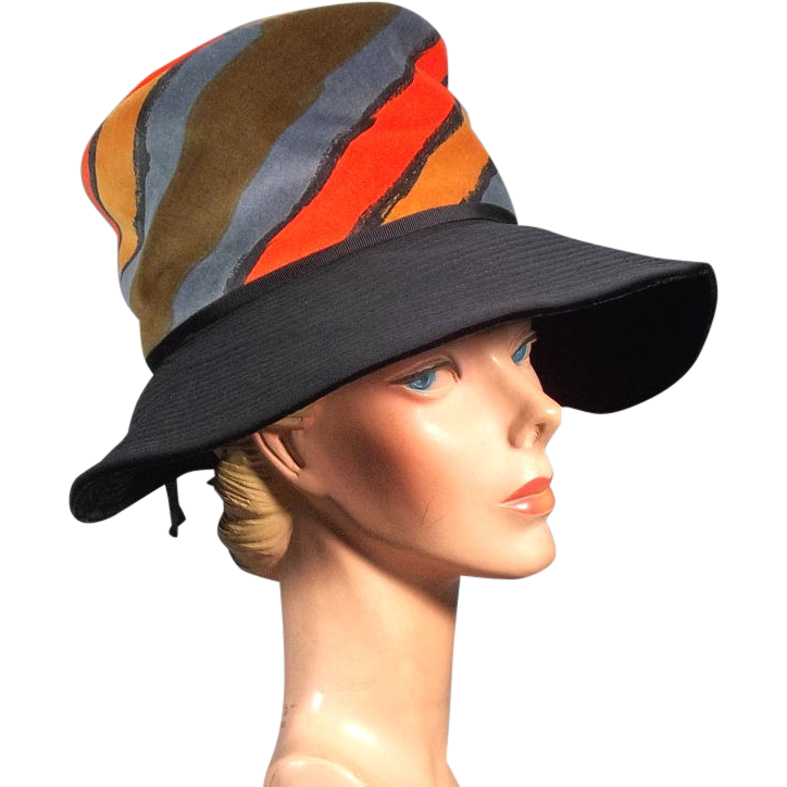 Eye-Catching 1970's Vintage Mr John Colorful Wide Brim Hat