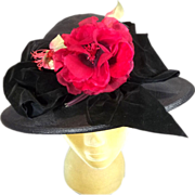 Phenomenal Pristine Black Straw 1930's Wide Brim Vintage Hat