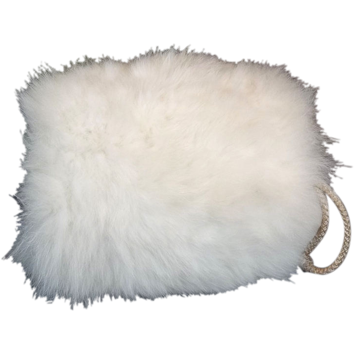 Child's 1950s White Fox Fur Vintage Hand Muff