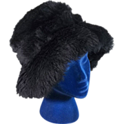 Plush 1960's Tuscan Lamb Vintage Black Fur Hat
