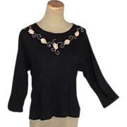 Lovely 1950s Vintage Black Beaded Blouse / Top
