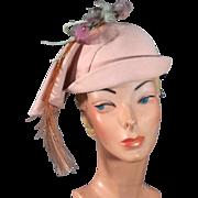 1930s Art Deco Slouching Sculptured Pink Felt Vintage Hat