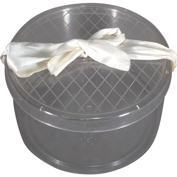 Superb Vintage 1950u0027s Lucite Clear Rigid Plastic Hat Box   Red Tag Sale Item