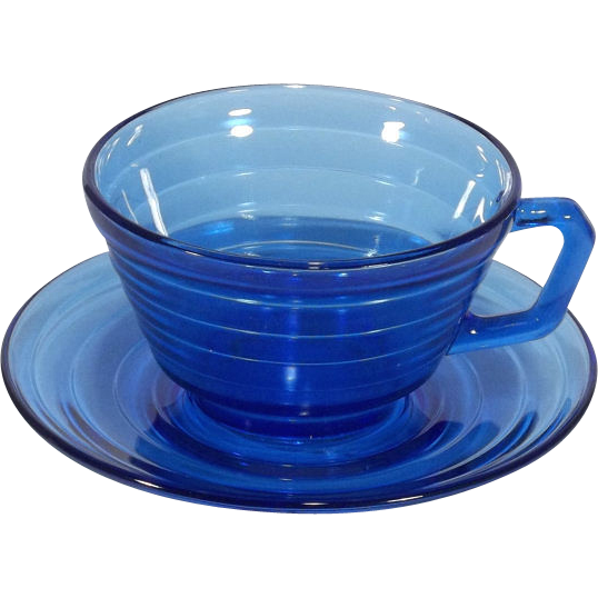 Hazel Atlas Cobalt Blue Moderntone Vintage Coffee Cup and Saucer