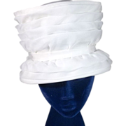 Grand 1960s White Organza Tall Basket Vintage Hat