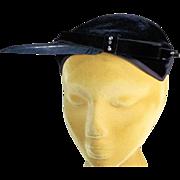Classic 1950's Black Velvet Close Fitting Vintage Hat
