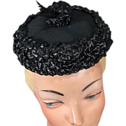Cute 50s-60s Black Straw Pillbox Hat