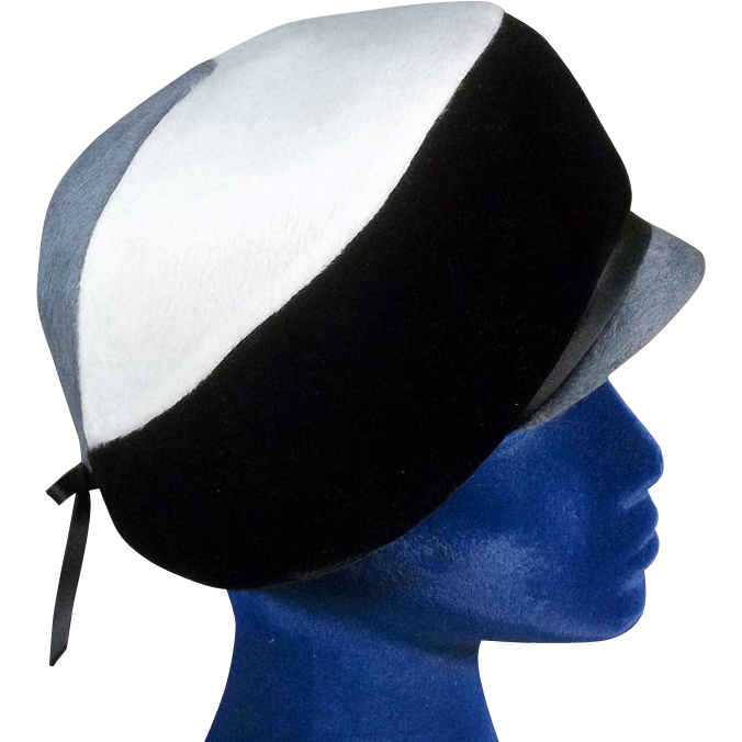 Sublime 1960s Felt and Velvet Tricolor Vintage Derby Hat