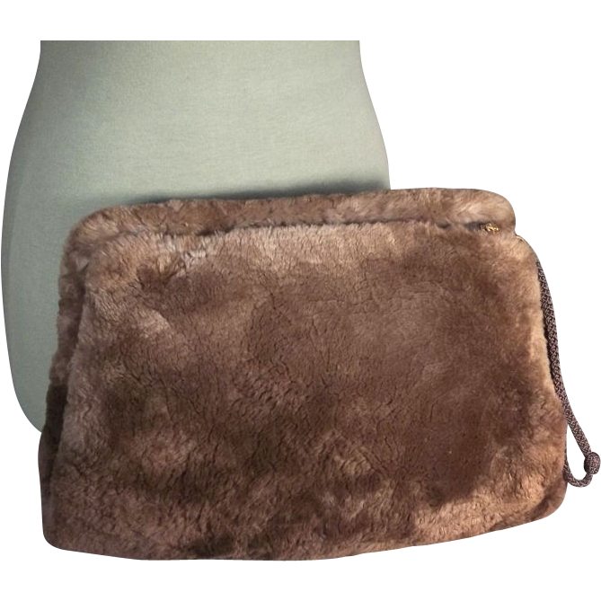 Plush 1930s-40s Vintage Brown Sheared Beaver Fur Hand Muff