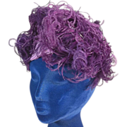 Flamboyant Vintage Purple Felt and Curly Ostrich Feathers Hat