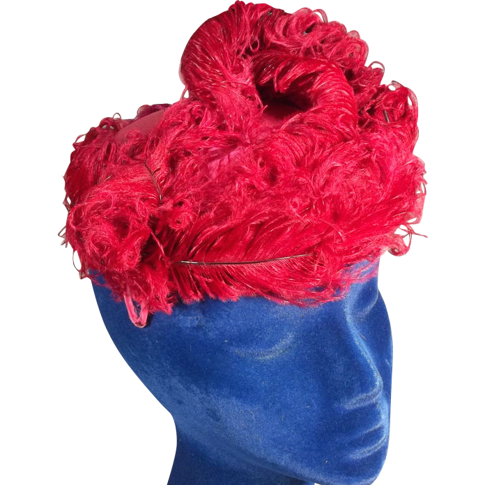 Flashy 1950s Reddish Vintage Hat with Curly Ostrich Feathers
