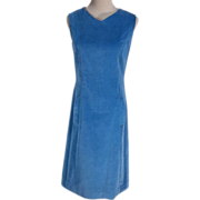 Sporty 1950s Blue Cotton Velvet Sleeveless Vintage Casual Dress