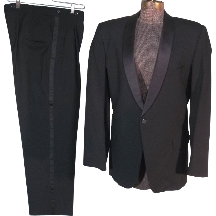 Sharp 50s-60s Black Wool After Six Tuxedo Suit with Shawl Lapels