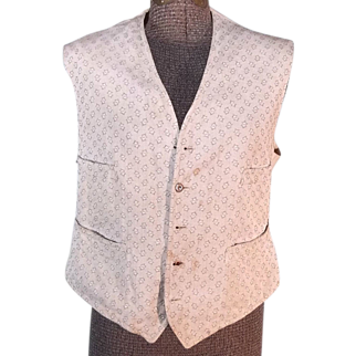Antique 1879 Victorian Men's White Brocade Vest or Shirtwaist