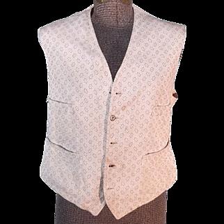 Antique 1879 Victorian Men's White Brocade Vest or Shirtwaist