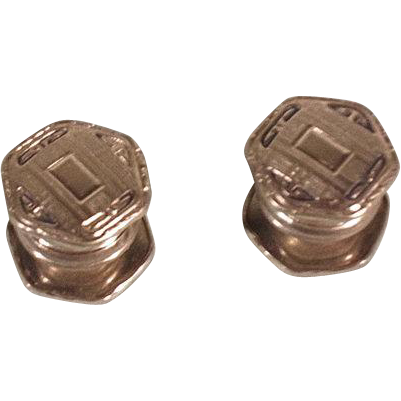 Vintage 1920s Silver Tone Snap Cufflinks Kum-A-Part