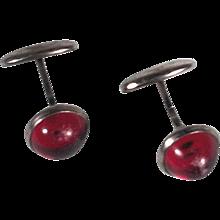 Vintage 1900s Brass Silver Tone Cufflinks w Red Stones