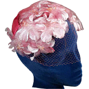 Elegant 50s Pink Flower Close Fitting Vintage Hat in Box