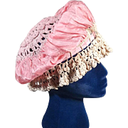 Outstanding 1920s Peach Silk Satin and Crochet Lace Boudoir Bed Cap