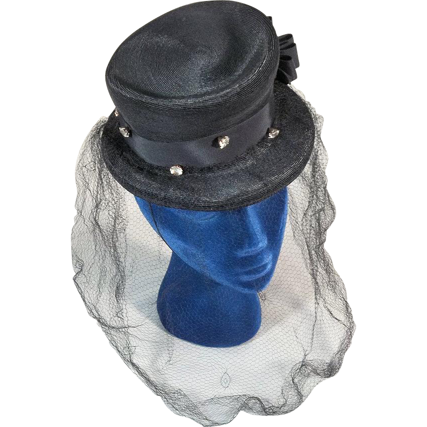 Outstanding Gage 1930s Black Top Hat Tilt Topper Vintage Hat with Veil