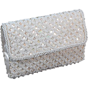 Sparkly 1950s Debbie White Satin Beaded Vintage Clutch Purse
