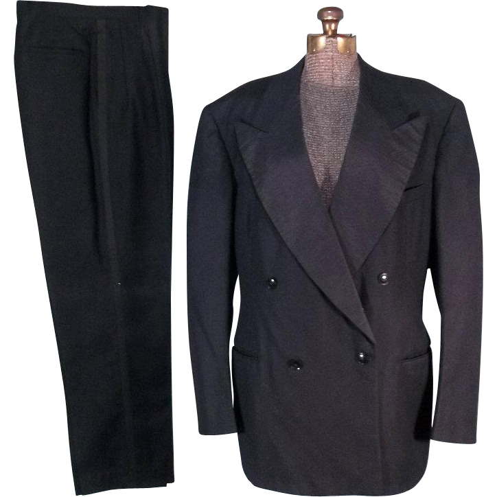 Distinguished 1947 Vintage Double Breasted Tuxedo Suit