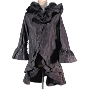 Exquisite Victorian Antique Black Silk Bed or Dressing Jacket Peignoir