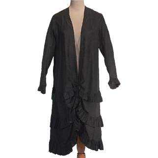 French Antique Victorian Black Sateen Bed or Dressing Robe