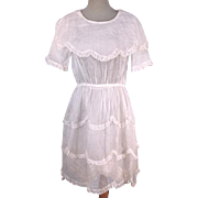 Circa 1905 Edwardian Antique Child's White Organza Tea Dress