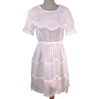 Circa 1905 Edwardian Antique Child's White Organza Tea Dress