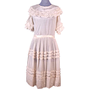 Sweet Early Edwardian Antique Child's White Silk Dress