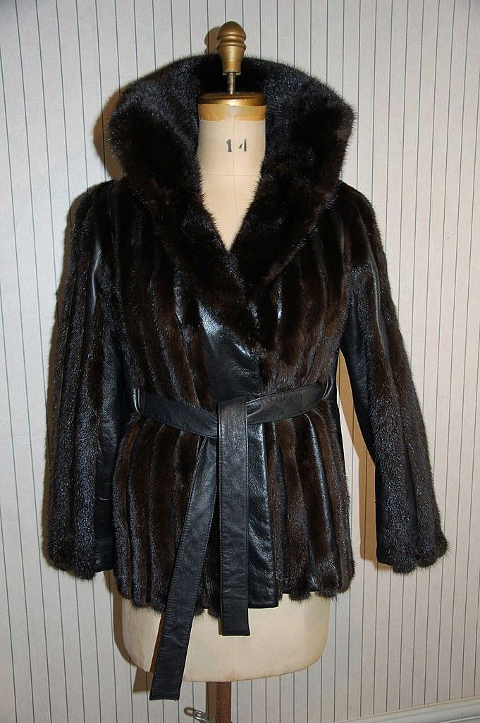 Mod Mink Fur and Black Leather Jacket coat