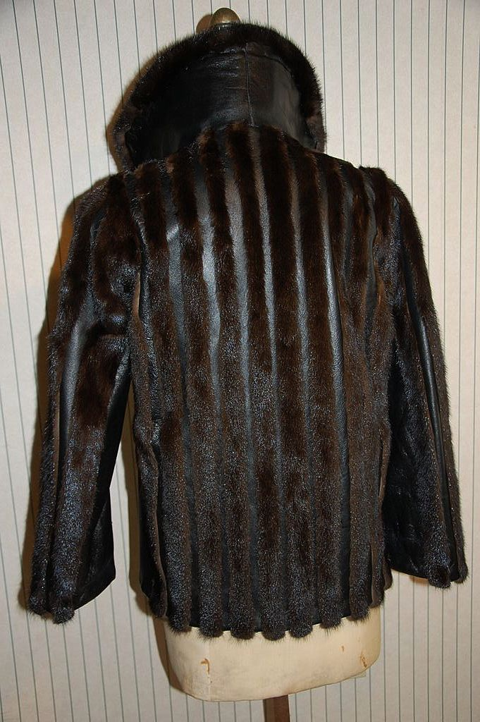 Mod Mink Fur and Black Leather Jacket coat from niagaraestatefinds ...