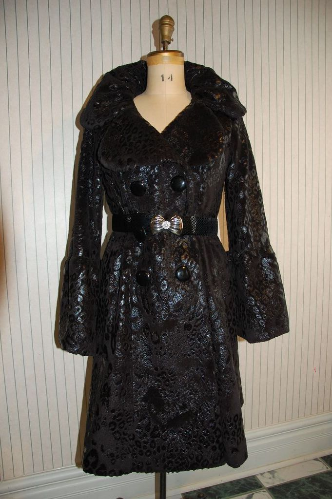 Posh Designer Foiled Faux Fur Coat w Metal Belt - Svetlana