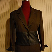 Long Classic Wool Jacket Coat w leather Sz 6