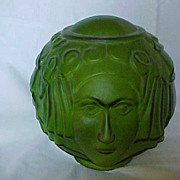 Art Deco lady face green glass lamp shade