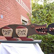 "Fabulous Folk Art Gator Croc ""Swim at own Risk"" Black Memorabilia"